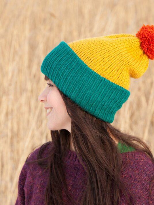 WarmSquirrel Beanie Knitted Colorblock Teal Mustard Orange 1027