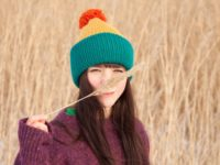 Mustard and teal vegan double brimmed beanie