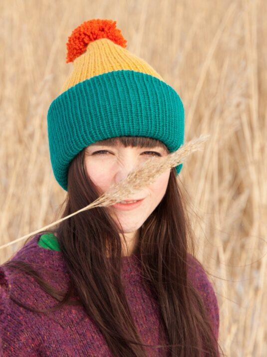 WarmSquirrel Beanie Knitted Colorblock Teal Mustard Orange 1031