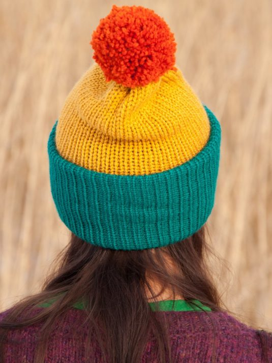 WarmSquirrel Beanie Knitted Colorblock Teal Mustard Orange 1032