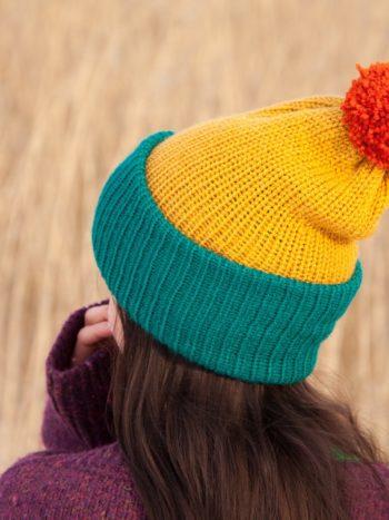 WarmSquirrel Beanie Knitted Colorblock Teal Mustard Orange 1033