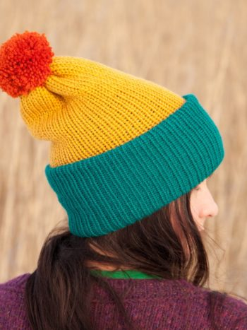 WarmSquirrel Beanie Knitted Colorblock Teal Mustard Orange 1034