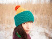 WarmSquirrel Beanie Knitted Colorblock Teal Mustard Orange
