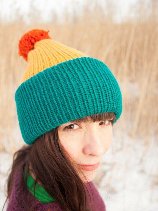 WarmSquirrel Beanie Knitted Colorblock Teal Mustard Orange 1036