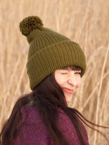 WarmSquirrel Beanie Knitted Forest Green 1004