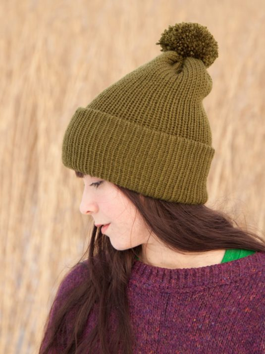 WarmSquirrel Beanie Knitted Forest Green 1019