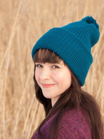 Royal blue vegan double brimmed beanie