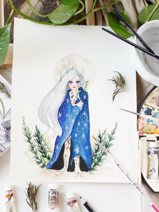 WarmSquirrel Moon Queen Original watercolor painting