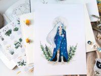 Moon queen watercolor art print