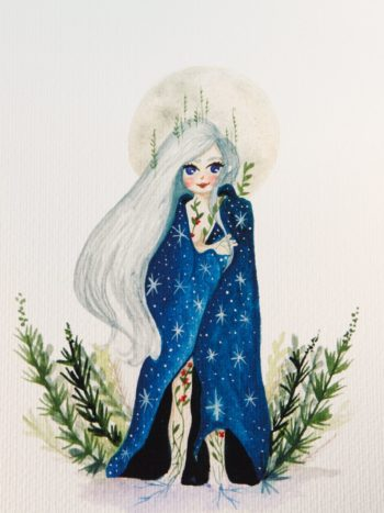 WarmSquirrel Moon Queen Print Watercolor Paper Full
