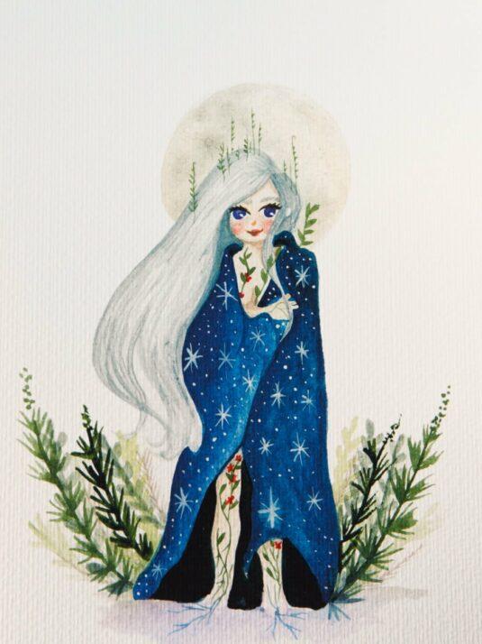 WarmSquirrel Moon Queen Print Watercolor Paper Full