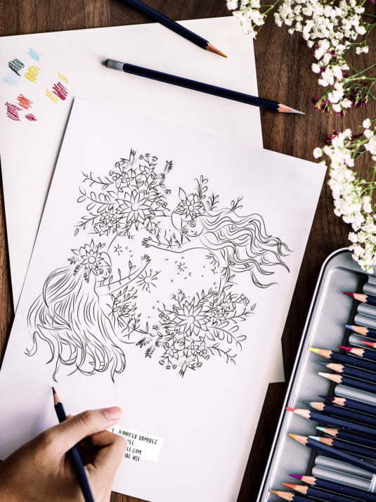 Moon Women Printable Coloring Page By Jennifer Ramirez Warmsquirrel
