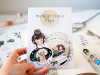 Moon power sticker set