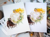 Moon women watercolor art print
