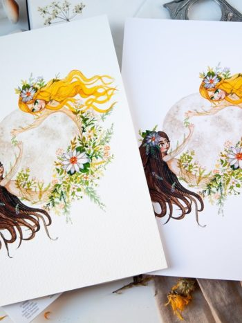 WarmSquirrel Moon Woman watercolor paper options side by side