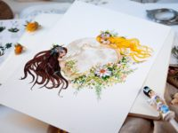 WarmSquirrel Moon Woman watercolor print detail view of illustration