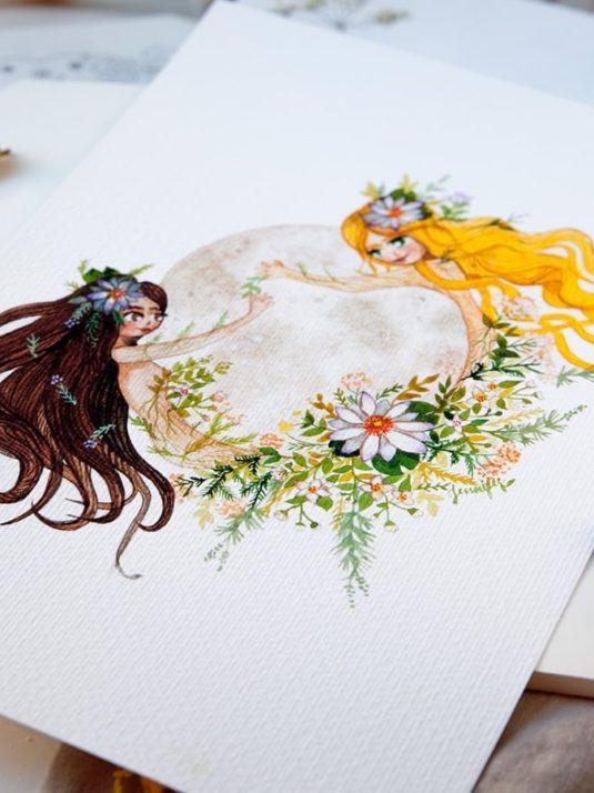 WarmSquirrel Moon Woman watercolor print detail