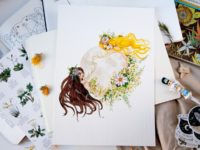 WarmSquirrel Moon Woman watercolor print front