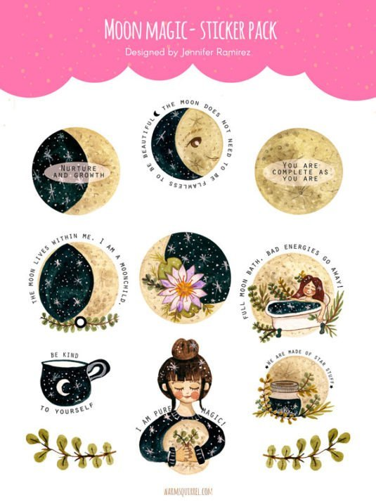 WarmSquirrel Moon Magic Sticker Set By Warmsquirrel Jennifer Ramirez
