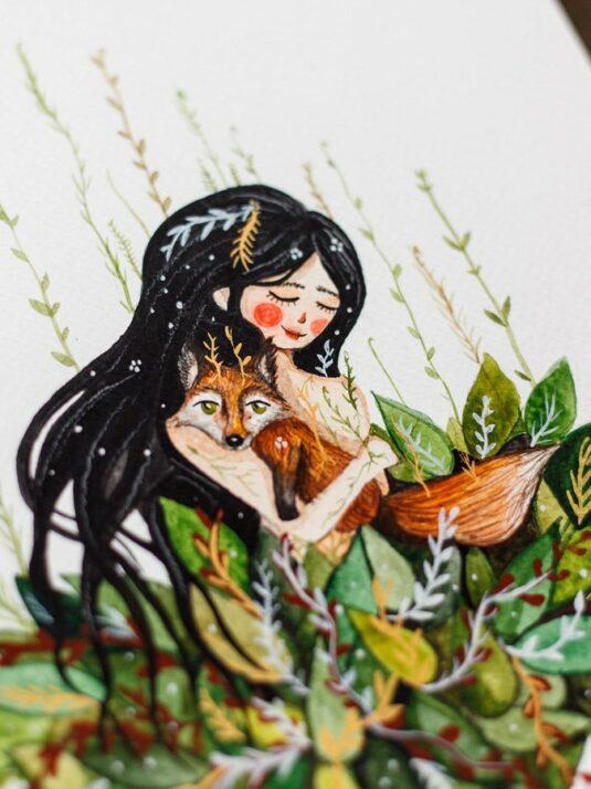 details WarmSquirrel Girl Hugging A Fox