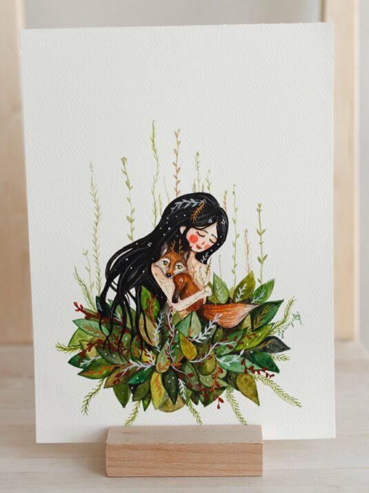 WarmSquirrel Girl Hugging A Fox Print