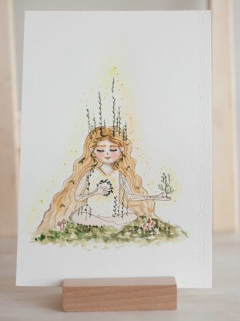 White witch watercolor illustration print