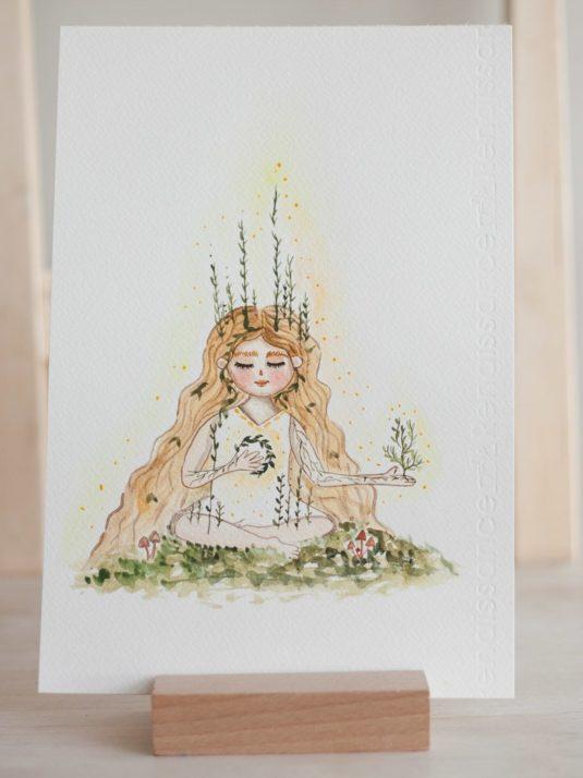 Woodland Illustration white witch meditating