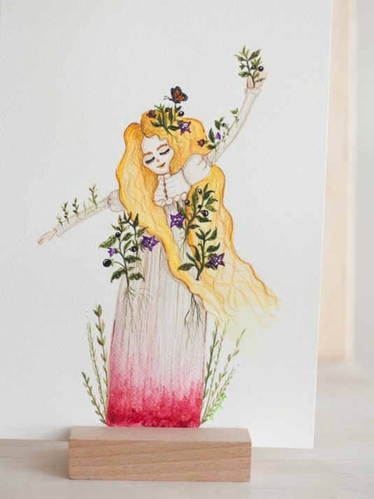 Watercolor Painting of Edith Cushing of Crimson Peak