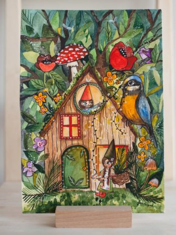 Gnome House Art Print. Two gnomes decortating their home with the help of a bird.
