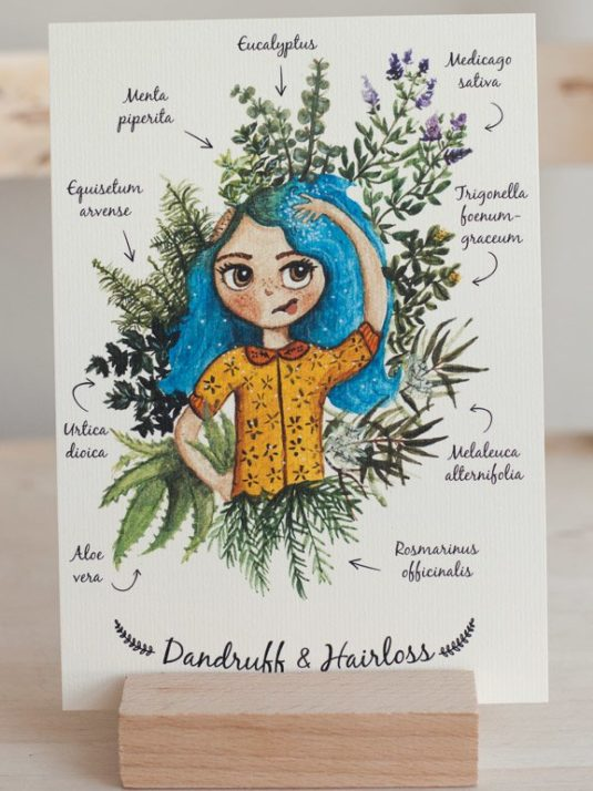 Art print of How to stop hair loss using herbs