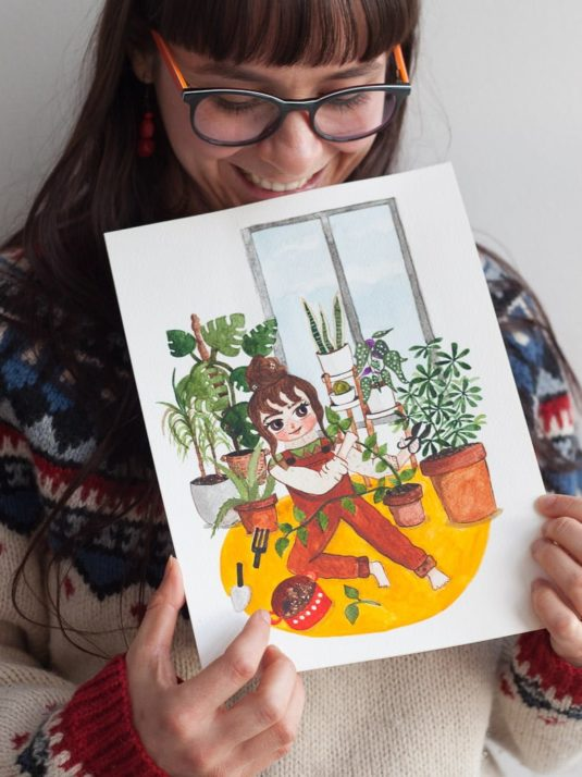 WarmSquirrel Watercolor Painting Of A Plant Mom