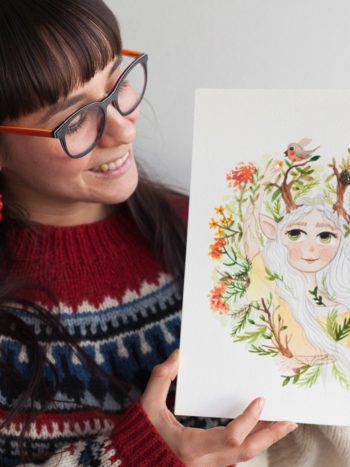 Elf girl watercolor painting
