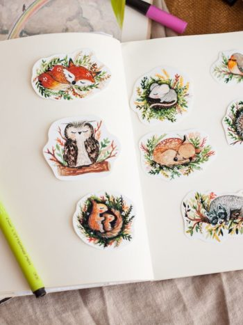 Sleepy animals stickers pack
