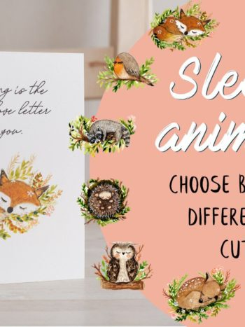 Sleeping animals watercolor cards