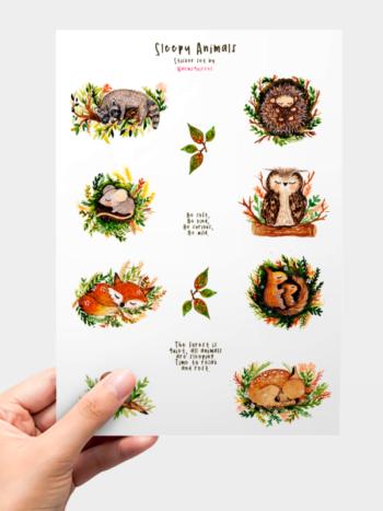 WarmSquirrel Sleepy Animal Sticker Pack By Warmsquirrel
