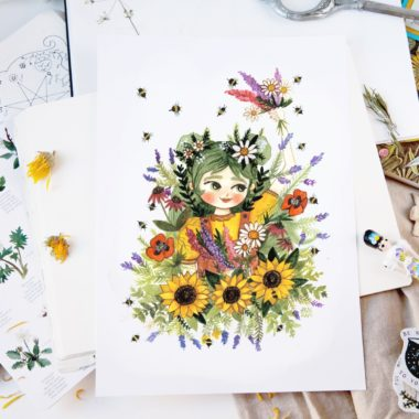 Save the bees! Watercolor illustraton of a girl surrounded by flowers and bees.