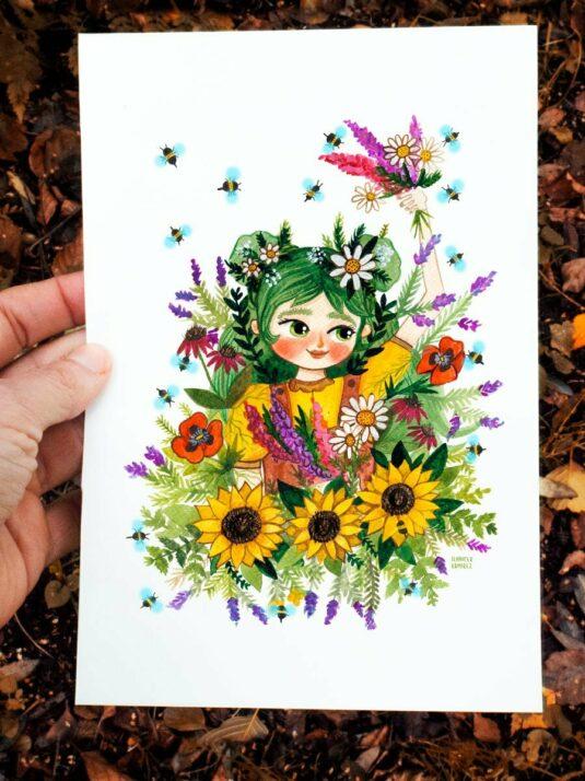 WarmSquirrel Beeatrice A Watercolor Print By Jennifer Ramirez Warmquirrel