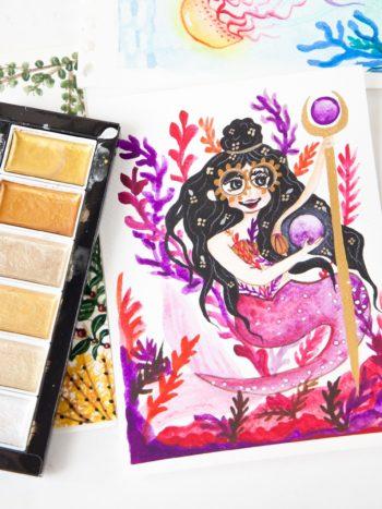 Violet Mermaid watercolor painting