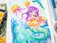 Mermaid watercolor painting with jellyfishes