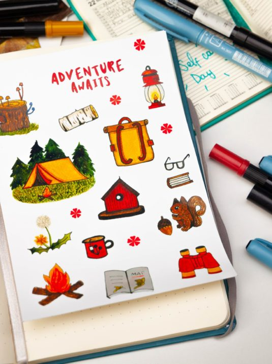 Camping sticker pack by Warmsquirrel