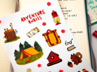 Camping sticker pack by Warmsquirrel closeup