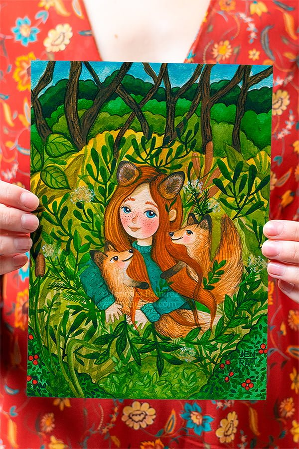 WarmSquirrel Girl With Foxes Original Watercolor Painting Height.png