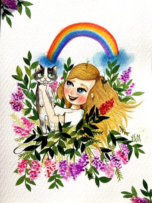 WarmSquirrel Custom Watercolor Portrait Girl With Cat