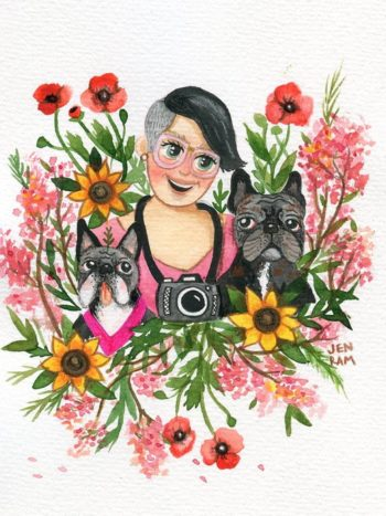 Custom Portrait from photo Woman With Dogs by Jennifer Ramirez