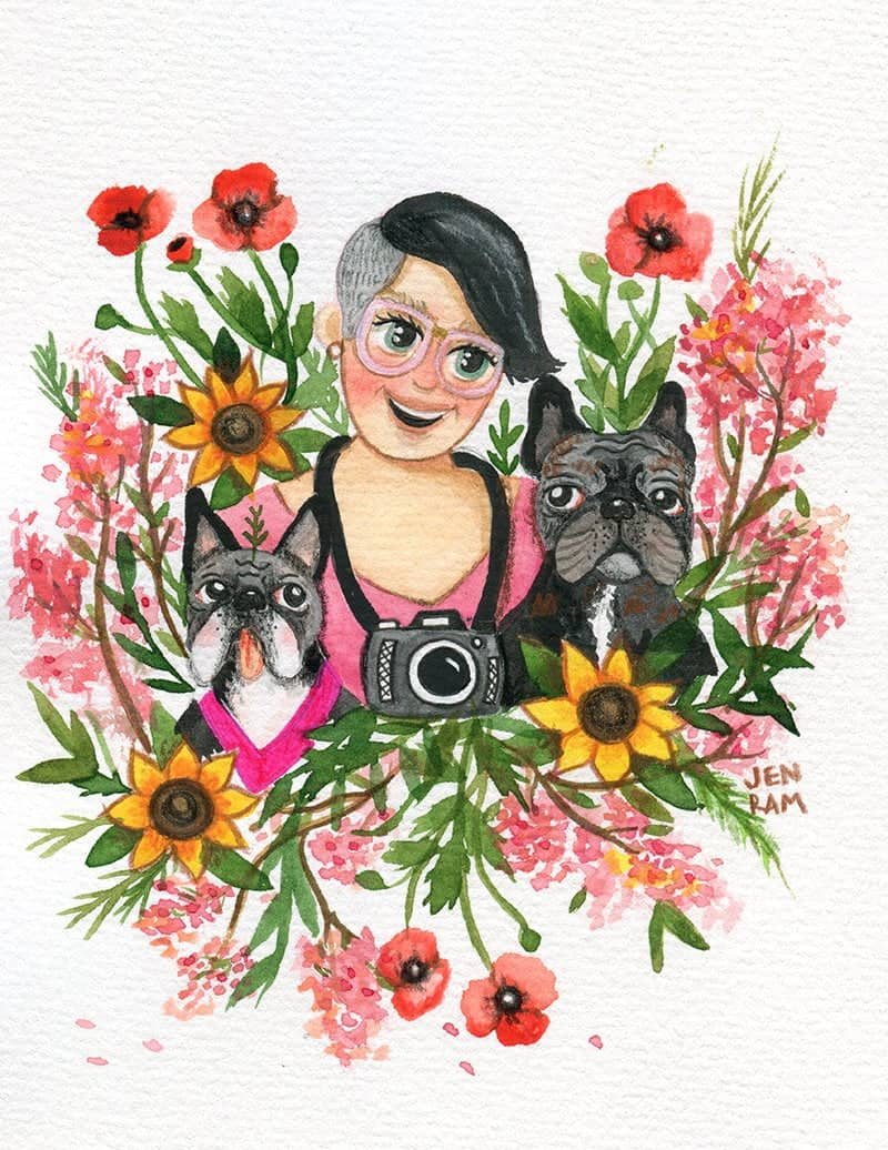 WarmSquirrel Custom Watercolor Portrait Woman With Dogs
