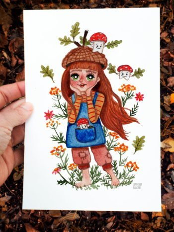 WarmSquirrel Acorn Girl A Watercolor Print By Jennifer Ramirez Warmsquirrel