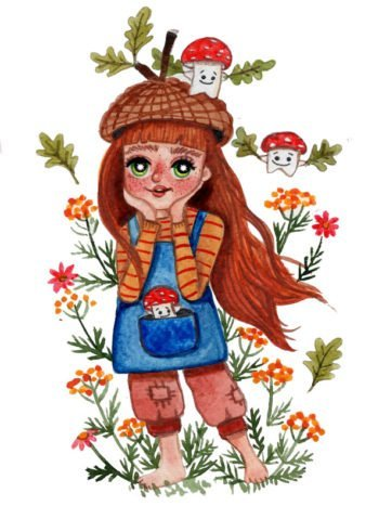 WarmSquirrel Acorn Girl A Watercolor Print By Jennifer Ramirez