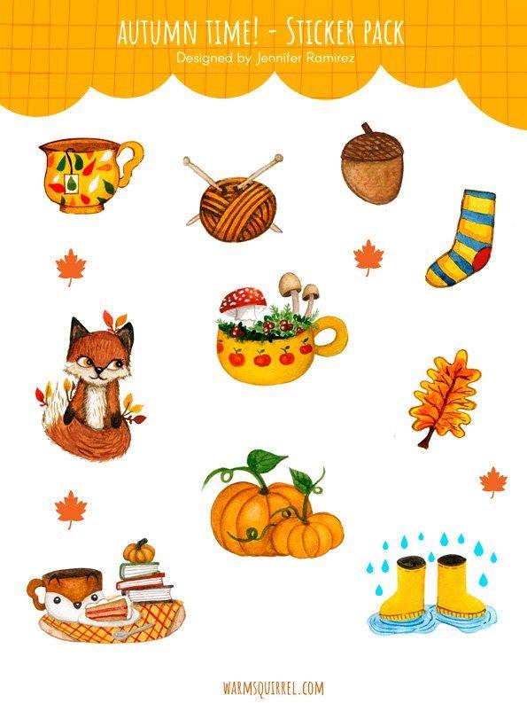 WarmSquirrel Autumn Time Sticker Pack By Jennifer Ramirez Warmsquirrel