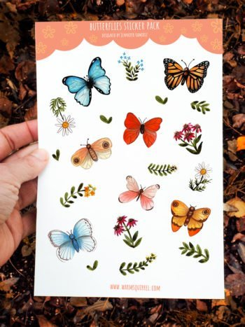 WarmSquirrel Butterfly A Sticker Packby Warmsquirrel Jennifer Ramirez