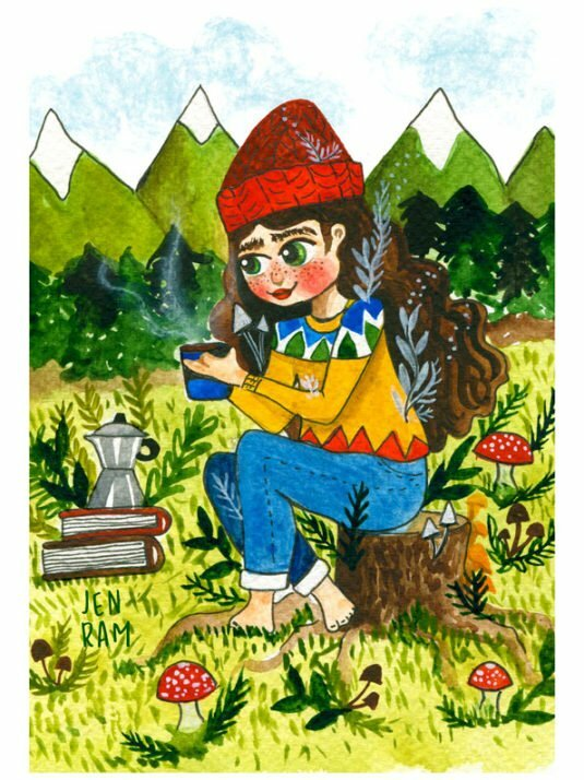 WarmSquirrel Camping In The Woods Watercolor Print By Warmsquirrel Jennifer Ramirez